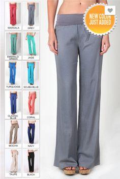 "Linen pants with fold over waist. Material: 55% Linen, 45% Rayon. Plus Size: 55% Linen, 45% Viscose. Approx. Inseam Measurements: Small: 30.5"", Medium: 32"", La"