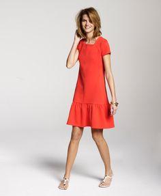 Ramona wears ME+EM Citrus Red Frill Shift Dress in Italian Tailoring Jersey.