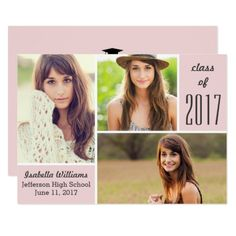 Trendy Pink Class of 2017 Graduation Photo Collage Card