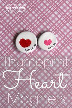 Thumbprint heart magnet with sculpey clay for a baby Valentine's Day craft.