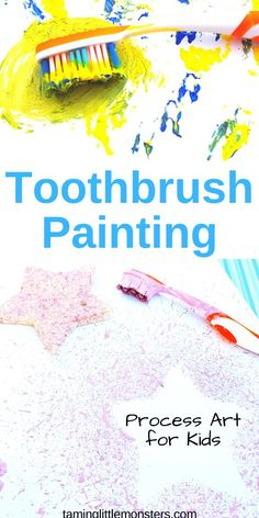 Painting with a toothbrush is a fantastic way to develop fine motor skills in toddlers and preschoolers. Learn how to create art with different techniques in this fun and easy process art activity for kids. Kindergarten Art Activities, Art Activities For Toddlers, Motor Skills Activities, Painting Activities, Fun Activities, Art Projects For Toddlers, Art For Toddlers, Infant Activities, Process Art Preschool