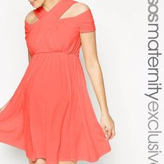 137ad989e4d4b NEW ASOS Maternity Cross Over Neck Coral Dress 2 New with tags ASOS  maternity white dress