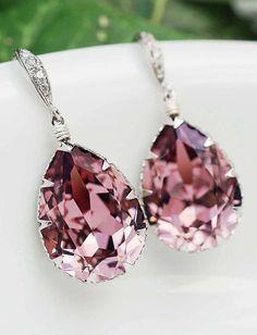 Antique Pink Swarovski Crystal Tear drop dangle earrings wedding jewelry