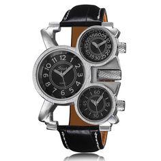 New Gürtel Quarz Uhren Für Männer Fashion Persönlichkeit Langen Bereich Drei Große Zifferblatt Herrenuhr Uhrwerk