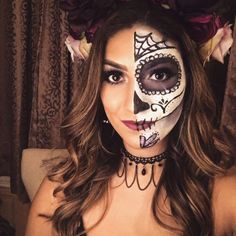 Day of the Dead by Upload your Halloween selfie on Sephora's Beauty Insider Community for a chance to be featured! Day of the Dead by Upload your Halloween selfie on Sephora's Beauty Insider Community for a chance to be featured! Sugar Skull Face, Skull Face Paint, Sugar Skull Makeup, Cool Halloween Makeup, Halloween Nail Designs, Halloween Nails, Sugar Skull Halloween, Halloween Stuff, Halloween Costumes