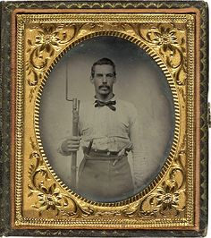 Ambrotype of Triple Armed soldier. Most likely Southerner Confederate.