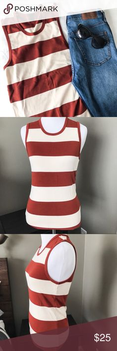 J. Crew Stripe Tank Top Super soft rugby Stripe Tank from J. Crew. Retail, not Factory. This tank is SO comfy. Very stretchy, thicker fabric. Size medium. Seems to run a bit small, since my mannequin is a small. New without tags. J. Crew Tops Tank Tops