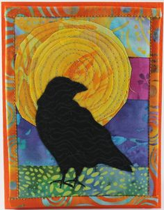 Crow silhouette looks easy enough to start THis site has lots of little quilts/card ideas Fabric Cards, Fabric Postcards, Bird Applique, Applique Quilts, Small Quilts, Mini Quilts, Mug Rug Patterns, Quilt Patterns, Crow Silhouette