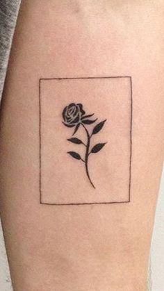 rose tattoo with thin border on forearm - Rene@madeinparadise.com.au