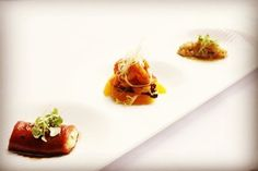 A trio from the sea roasted red pepper and tuna salad sweet and sour calamari fritti scallop tartare. #italian #throwback2008 #capo #finedining #truecooks #classics #gastroart #staffcanteen #chefsofinstagram #chefstalk #theartofplating by tyestick9