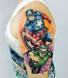 Captain America Sleeve http://tattooideas247.com/captain-america-sleeve/