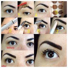 Eyebrows 1-u brush 2-eyebrow pencil 3-brow shadow 4-highlighter