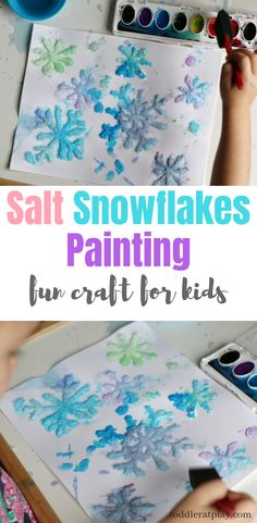 Salt Snowflakes Painting Craft (Quick Video Tutorial) - Toddler at Play - - Are you looking for some easy but fun kid craft ideas for this cold season? This Salt Snowflakes Painting craft is a must! Well, first because you. Winter Activities For Kids, Winter Crafts For Kids, Crafts For Kids To Make, Winter Fun, Projects For Kids, Art For Kids, Kids Fun, Winter Crafts For Preschoolers, Winter Preschool Crafts