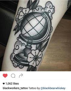 American traditional black and gray globe tattoo by @blackbearwhiskey