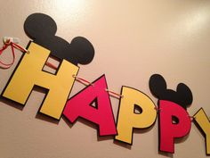 Mickey Mouse Banner 1pc Red and Yellow Happy Birthday 8+ foot Banner Mickey Party Mickey Mouse Decoration