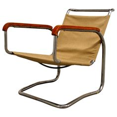 Jindrich Halabala, Tubular Steel Armchair, 1931 | From a unique collection of antique and modern lounge chairs at http://www.1stdibs.com/furniture/seating/lounge-chairs/