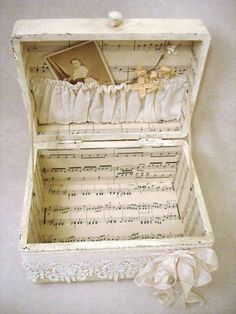 papered suitcase from The Vintage House FB via The Feathered Nest