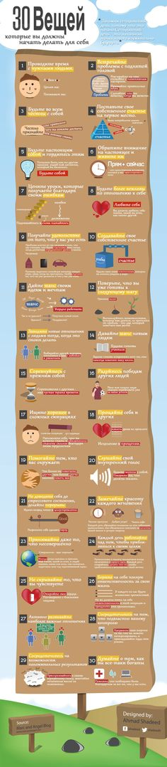 Psychology infographic and charts 30 Things You Should Do For Yourself Infographic Description 30 Things to do for Yourself. As moms we tend to neglect ourselves. Take care of yourself first and 29 other things to do for yourself today.