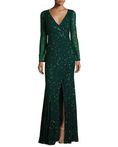 B3PYH Rachel Gilbert Long-Sleeve Sequined V-Neck Gown, Emerald
