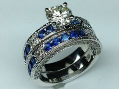 Vintage Engagement Ring Blue-Sapphire Accents & Matching Wedding Band - ES739BRBS *I agree, emeralds instead*