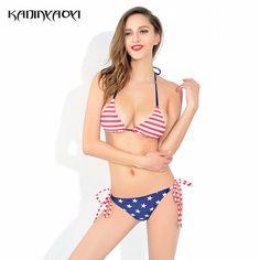 7d3db1055e Hot Sale Bikinis Set 2017 New Women Swimwear Sexy Swimsuit Print American  Flag Bathing Suit Multi Color Female Sexy Beachwear -in Bikinis Set from  Sports ...