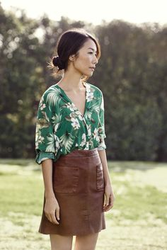 The Japanese-born Momoko Suzuki embodies our new #Esprit #SS15 styles of tropical green