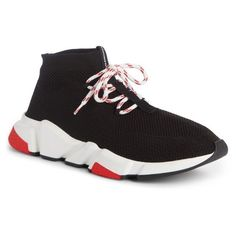 Men's Balenciaga Mid-Top Sneaker ($695) ❤ liked on Polyvore featuring men's fashion, men's shoes, men's sneakers, mens neon shoes, balenciaga mens shoes, mens shoes, balenciaga mens sneakers and mens sneakers