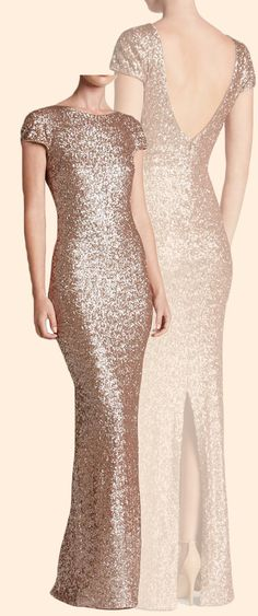 Cap Sleeves Sequin Rose Gold Long Bridesmaid Dress Simple Prom Gown 964988ca0