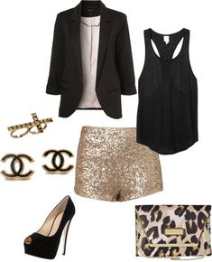 """night out look"" by jordan-yeary on Polyvore - I think I want some glitter shorts for Vegas... @Leigh Scott"