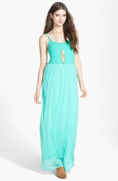 V-STRAP MAXI DRESS..This color is absolutely beautiful. And I like that instead of the maxi dress being a plain solid color, the top part is different from the bottom. This would be such a great dress to bring to a trip to the beach! You can find it at Nordstrom.