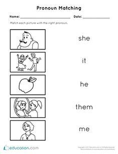 This is a pronoun worksheet for kindergarten kids. Kids