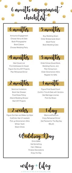 Are you planning a short engagement? Here is a helpful checklist / timeline to help you kick start your wedding planning! Wifey + Lifey