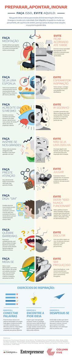 Infografico com coisas para evitar e fazer que aumentará sua produtividade e criatividade