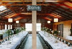 wedding catering, woolshed wedding - long tables
