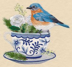 Bluebird and Cozy Coffee design (M11118) from www.Emblibrary.com