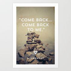 """Come back... Come back to me."" Atonement - Joe Wright - Ian McEwan - Art Print by Bubblegum Prints - $17.00"
