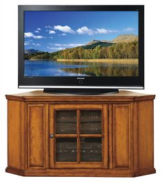 Leick+Furniture+-+Corner+TV+Stand+In+Oak+Finish