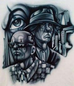 "Crazzy ""s.. Chicano Love, Chicano Rap, Chicano Art Tattoos, Chicano Drawings, Arte Cholo, Cholo Art, Tattoo Futbol, Payasa Tattoo, Evil Clown Tattoos"