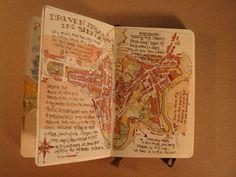 page on Siena in Tuscany journal by Danny Gregory #art_journal #painting #maps
