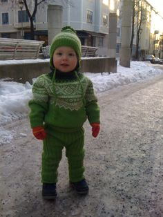 "Albin got this green ""Marius' outfit from his grandmother!"