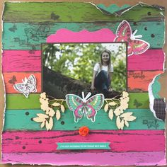 """Smile"" layout (view 1) by by Amanda Baldwin for Kaisercraft using 'Fly Free' collection - Wendy Schultz ~ Kid's Layouts."