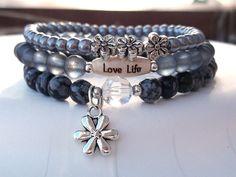 Black Stacking Bracelet Nature Bracelet Love by BlueStoneRiver, $34.95