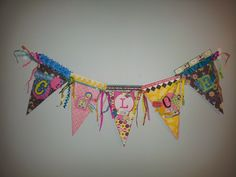 Banner for little girl's bedroom. Pennant made with Scrapbook paper