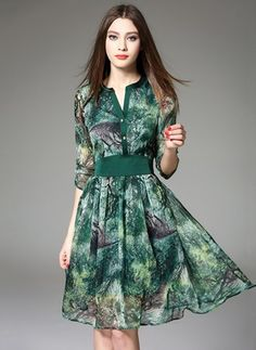 Shop Midi Dresses - Green Floral Polyester Elegant V Neck Midi Dress online… Casual Formal Dresses, Trendy Dresses, Cute Dresses, Beautiful Dresses, Short Dresses, Midi Dresses, Dress Casual, Spring Dresses, V Neck Midi Dress