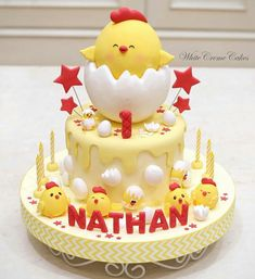 Image may contain: food Torta Baby Shower, Shower Cakes, Chicken Cupcakes, Chicken Cake, School Cake, Rabbit Cake, Baby Birthday Cakes, Novelty Cakes, Cake Decorating Tips
