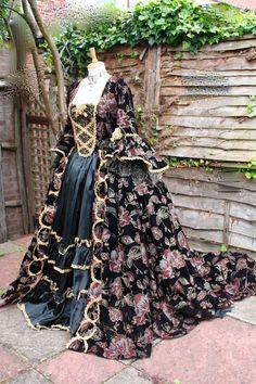 Urbane Urchins: Black and gold velvet Georgian gown