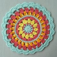 Crochet Mandala Wheel made by Christine, Pembrokeshire, Wales, for yarndale.co.uk Crochet Squares, Granny Squares, Crochet Motif, Pembrokeshire Wales, Mandala Pattern, Madness, Hooks, Projects To Try, Wheels