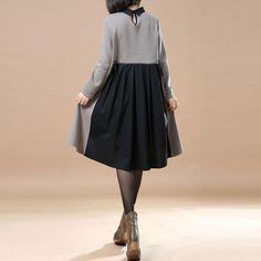Irregular Lotus Leaf Pendulum Gray Shirt Dress - Buykud