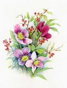 - by Anne Marie Patry-Belluteau, France Botanical Drawings, Botanical Art, Botanical Illustration, Beautiful Flowers Pictures, Flower Pictures, Art Floral, Fabric Painting, Painting & Drawing, Watercolor Flowers