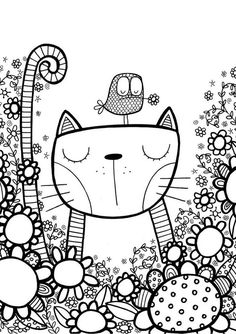 cool whimsical pen and ink zentangle style cat and bird illustration Doodle Art, Doodle Drawings, Cat Doodle, Doodle Kids, Vogel Illustration, Doodle Coloring, Kids Coloring, Doodles Zentangles, Coloring Book Pages